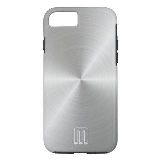Silver Steel Metal Look Monogram iPhone Case