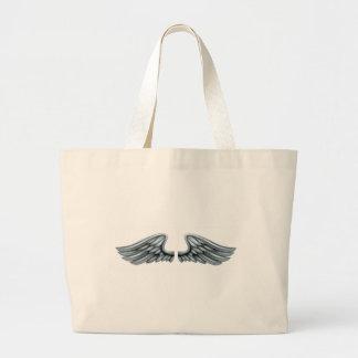 Silver Steel Metal Wings Large Tote Bag