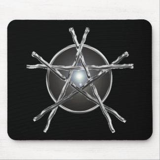 Silver Sticks Pentagram Mousepad
