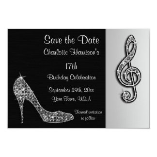 Silver Stiletto & Treble Cleft 17th Save The Date 9 Cm X 13 Cm Invitation Card