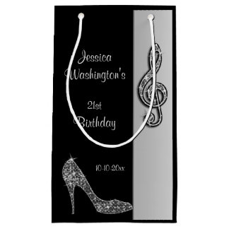 Silver Stiletto & Treble Cleft 21st Birthday Small Gift Bag