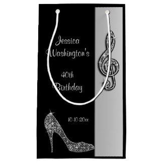 Silver Stiletto & Treble Cleft 40th Birthday Small Gift Bag