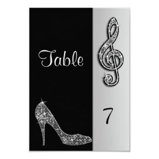 Silver Stiletto & Treble Cleft 9 Cm X 13 Cm Invitation Card