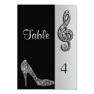 Silver Stiletto & Treble Cleft 9 Cm X 13 Cm Invitation Card