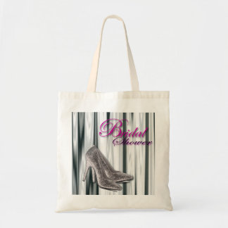 Silver Stilleto Modern Bridal Shower Canvas Bag