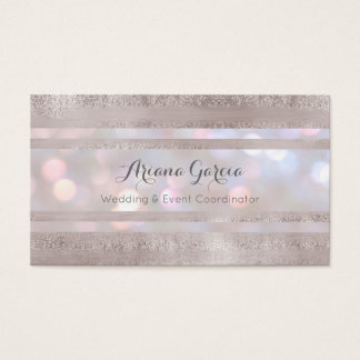 Silver Stripe Bokeh Event Planner Business Card