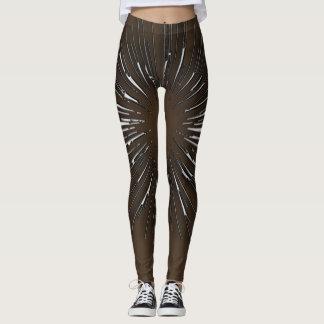 Silver Stripes Design On Brown Leggings