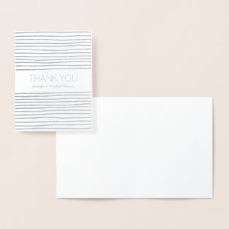 Silver Stripes Thank you personalized Foil Card