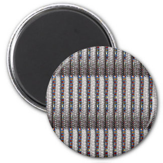 Silver StripesTemplate add TEXT QUOTE Image PHOTO 6 Cm Round Magnet