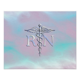 Silver Style RN Caduceus Medical Mother Pearl Poster