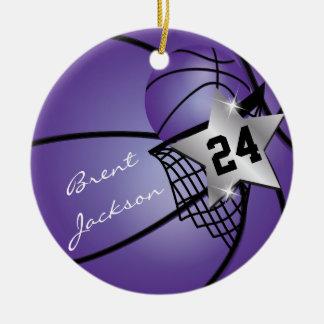 Silver Superstar Basketball   DIY Text   Purple Christmas Ornament