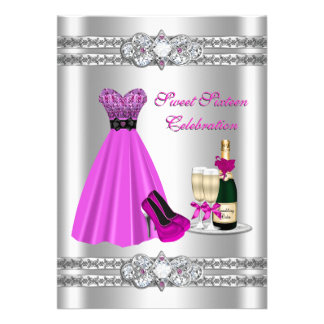 Silver Sweet Sixteen Gown 5x7 Invite