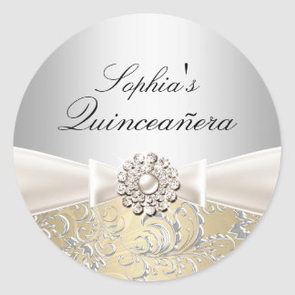 Silver Swirl & Jewel Bow Quinceanera Sticker