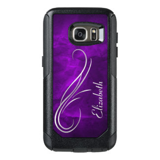 Silver Swirl on Royal Purple OtterBox Samsung Galaxy S7 Case