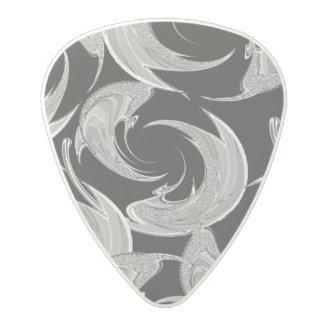 Silver Swirl Pattern on Black Polycarbonate Guitar Pick