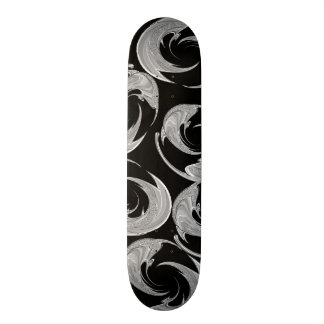 Silver Swirl Pattern on Black Skate Decks
