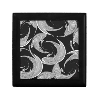 Silver Swirl Pattern on Black Small Square Gift Box