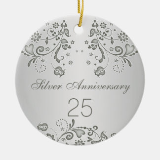 Silver swirls 25th Wedding Anniversary Ornament