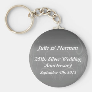 Silver Swirls Anniversary Save the Date Key Ring
