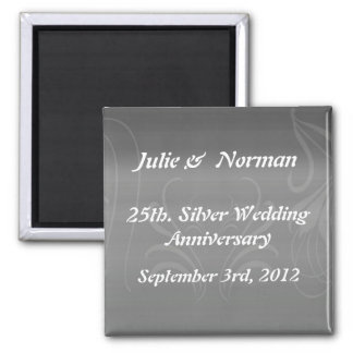 Silver Swirls Anniversary Save the Date Square Magnet
