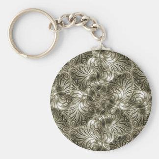 Silver Swirls Background Key Chain