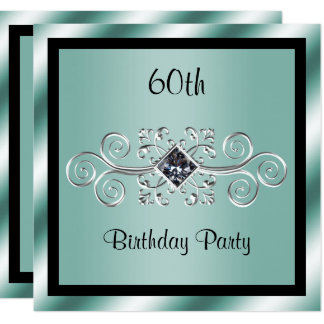 Silver Swirls & Diamond 60th Birthday Party Card