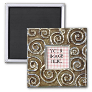 Silver Swirls Frame Template Square Magnet
