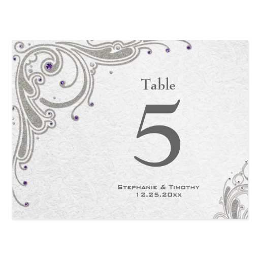 Silver swirls + purple jewels wedding table number post cards