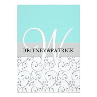 "Silver Swirls Tiffany Blue Wedding Invitations 5"" X 7"" Invitation Card"