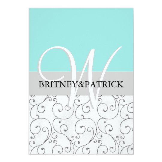 Silver Swirls Tiffany Blue Wedding Invitations