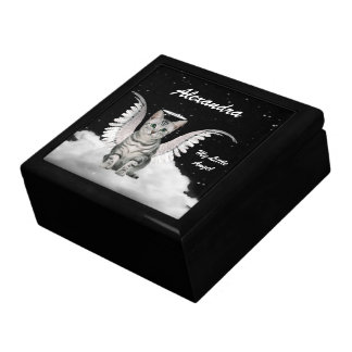 Silver Tabby Angel Cat Custom Name Large Square Gift Box