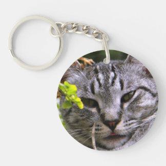 Silver Tabby Cat Face Keychain