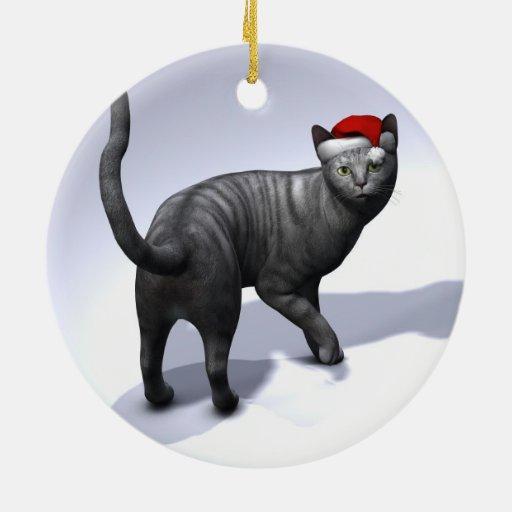 Silver Tabby Cat Santa Ornament