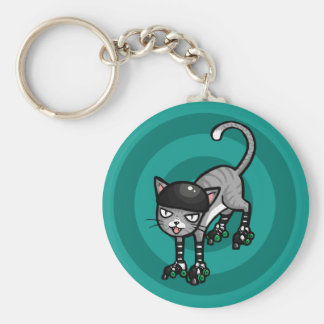 Silver Tabby on RollerSkates Basic Round Button Key Ring