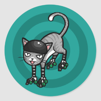 Silver Tabby on RollerSkates Classic Round Sticker