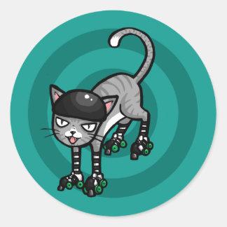 Silver Tabby on RollerSkates Round Sticker