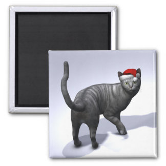 Silver Tabby Santa Claus Hat 2 Inch Square Magnet