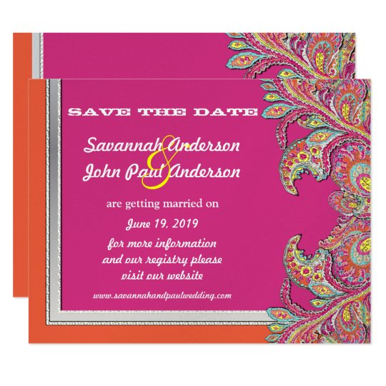 Silver Tangerine & Fuchsia Wedding Save the Date Card