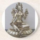 SILVER TARA BUDDHIST GODDESS BEVERAGE COASTER