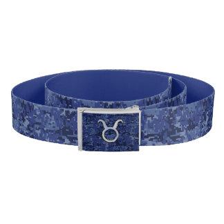 Silver Taurus Zodiac Sign Navy Blue Digital Camo Belt