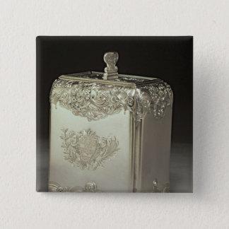 Silver tea canister by Paul de Lamerie 15 Cm Square Badge