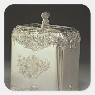 Silver tea canister by Paul de Lamerie Square Sticker