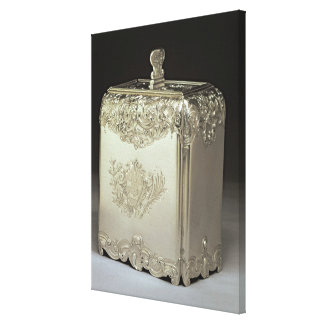 Silver tea canister by Paul de Lamerie Stretched Canvas Print