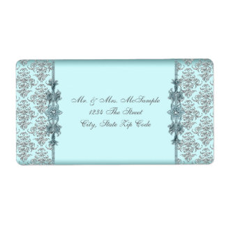 Silver Teal Blue Damask Address Labels