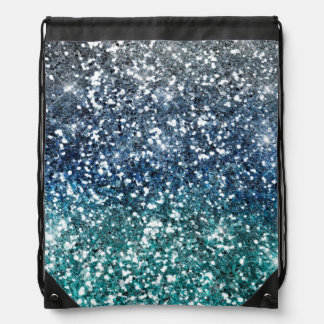 Silver Teal Blue Glitter Look Backpacks