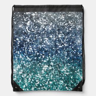 Silver Teal Blue Glitter Look Backpacks