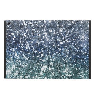 Silver Teal Blue Glitter Look Cover For iPad Air