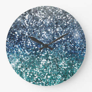 Silver Teal Blue Glitter Look Large Clock
