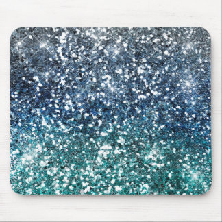 Silver Teal Blue Glitter Look Mouse Pad