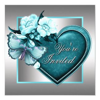 Silver Teal Blue Heart Butterfly Teal Blue Party 13 Cm X 13 Cm Square Invitation Card